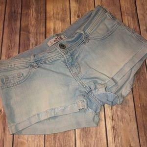 Hollister Light Wash Frayed Shorts, Sz. 0